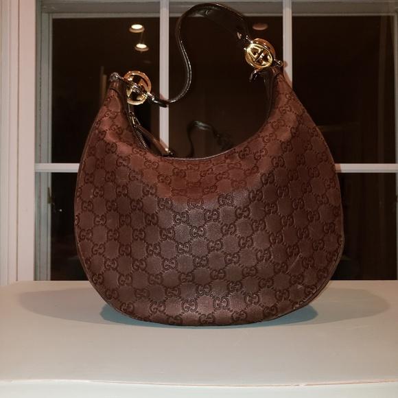GUCCI brown leather hobo handbag